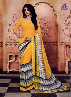 Design and pattern will be on the peak of your magnificence when you attire this yellow georgette casual saree. The ethnic print work in the dress adds a sign of splendor statement with your look. Cotton Sarees Online Shopping, Saree Shopping, Sarees Online India, Silk Sarees Online, Buy Designer Sarees Online, Latest Indian Saree, Yellow Saree, Indian Attire, Indian Wear
