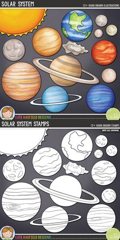 Solar system digital scrapbook elements / planet and space clip art! Hand-drawn doodles, clip art and line art for digital scrapbooking, crafting and teaching resources from Kate Hadfield Designs.Solar System / planet clip art for teachers! Solar System For Kids, Solar System Projects, Solar System Planets, Solar System Art, Arte Do Sistema Solar, Colegio Ideas, Space Activities, Solar System Activities, Scrapbooking Layouts