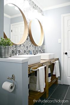 Diy bathroom ideas 521150988127417863 - A look back at the three bathroom renovations I tackled over the years. A bright white powder room, pretty basement bath and a modern makeover in our son's bathroom. Source by constancebesanc Diy Bathroom, Basement Decor, Bathroom Wall Tile, Bathroom Mirror, Round Mirror Bathroom, Bathroom Renovations, Bathrooms Remodel, Bathroom Design, Bathroom Decor