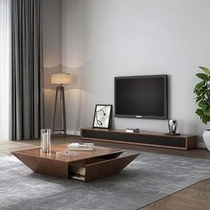 35 Flawless Solid Wood Coffee Table Design Ideas To Try Asap - A round wood coffee table should be a wonderful piece of stylish furniture in your living room that is has a real wow factor. Drum Coffee Table, Coffee Table With Drawers, Coffee Table Design, Tv Stand And Coffee Table, Solid Wood Coffee Table, Modern Black Coffee Table, Centre Table Living Room, Living Room Tv Unit Designs, Home Decor