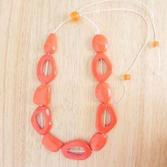 Orange Monohrome Statement Resin Necklace by KRIVYA on Etsy