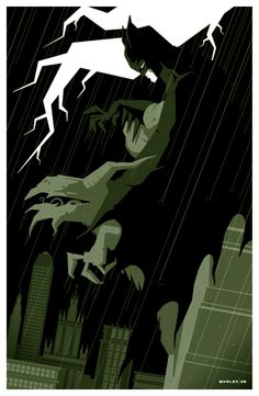 Illustrator and designer Tom Whalen has a way of taking our favorite movies or tv shows and turning them into retro modern works of art. He started develop Batman Comic Books, Batman Art, Marvel Dc Comics, Comic Books Art, Book Art, Tom Whalen, Batman Begins, Comic Sans, Minimalist Art