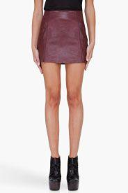 Burgundy leather miniskirt. Amazing.