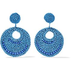 Kenneth Jay Lane Silver-tone bead earrings ($46) ❤ liked on Polyvore featuring jewelry, earrings, blue, silver tone earrings, silvertone earrings, bead jewellery, beaded jewelry and silver tone jewelry