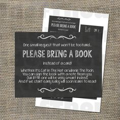 Please Bring a Book Instead of a Card! Insert for Baby Shower Invitations – Library Card with Rustic Chalkboard Theme, Gender Neutral DIY – Best Gender Neutral Party Ideas & Images Shower Party, Baby Shower Parties, Shower Gifts, Bridal Shower, Gender Neutral Baby Shower, Baby Boy Shower, Cute Baby Shower Games, Baby Gender, Rustic Baby