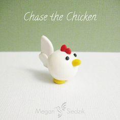 Polymer Clay Chicken Animal Figurine Pocket Totem by MeganSiedzik