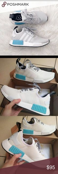 White and baby blue adidas NMDs Available in women's sizes 5-7.5 and men's 7-11. If interested and want to see more pictures please email me at dejanaet6@gmail.com adidas Other