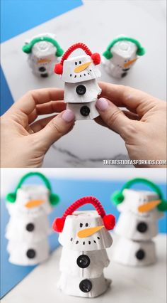 Kids Crafts EGG CARTON SNOWMAN ⛄⛄⛄- such a fun Christmas craft for kids! Use up egg cartons and turn them into this fun and easy snowman craft. Kids Crafts, Easy Christmas Crafts, Christmas Crafts For Kids, Christmas Activities, Toddler Crafts, Simple Christmas, Christmas Ornaments, Christmas Snowman, Kids Diy