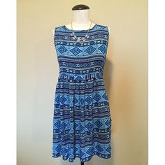 Tribal Print (Blue) Dress sz S NWOT Tribal Print (Blue) Dress sz S NWOT by Forever21  It is a size S but could fit a size M as well. The necklace is NOT included, sold separately.                                                                  NO TRADES NO PAYPAL Forever 21 Dresses