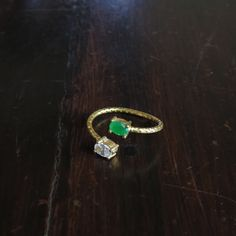 Open ring with two green and clear stones by HurremSultanJewelry on Etsy