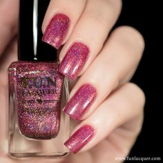 Wearing Heels With Cocktails is a berry pink holographic polish with purple/gold shimmer. The assortment of shimmer coupled with a range of holographic particles, give a truly unique combination of class! This polish can be worn alone in 2-3 coats!*Photos shown here are 2 coats with 1 coat of glossy top coat.All F.U.N Lacquers are 5-FREE! They do not contain Dibutyl Phthalate (DBP), Toluene, Formaldehyde, Formaldehyde Resin, Camphor and it is cruelty FREE.*Kindly read th...