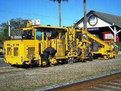 Ballast tamping machine as used in railroad track maintenance Railroad Ties, Railroad Tracks, Work Train, Network Rail, Rail Transport, Train Pictures, Model Train Layouts, Australian Models, Train Tracks