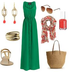 green, gold and coral