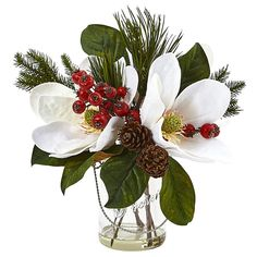 Nearly Natural White Magnolia, Pine, and Berry Holiday Arrangement in Glass Vase White Flower Arrangements, Christmas Flower Arrangements, Artificial Floral Arrangements, Christmas Flowers, Artificial Flowers, Christmas Crafts, Christmas Decorations, Christmas Wedding, Christmas Holiday