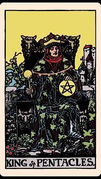 Tarot Card by Card - King of Pentacles. The King of Pentacles is the King Midas of the tarot courts. Tarot Rider Waite, Tarot Waite, Tarot Significado, Free Tarot Cards, Tarot Gratis, Love Tarot, Daily Tarot, Tarot Card Meanings, Pentacle