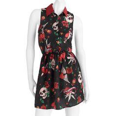 0fe284f35db Juniors Skull Print Sleeveless Dress   wal-mart.com  14.88 size small Skull  Print