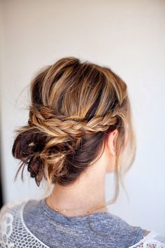 Messy Braided Bun Updo - 101 Braids That Will Save Your Bad Hair Day - Livingly Braided Hairstyles Updo, Fancy Hairstyles, Everyday Hairstyles, Summer Hairstyles, Braided Updo, Wedding Hairstyles, Bun Updo, Simple Hairstyles, Bun Braid