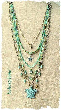 Bohemian Jewelry Sea Turtle Necklace Boho Fashion Hand