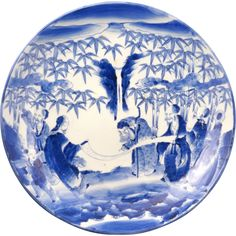 Large Japanese blue and white porcelain charger with sage in the garden design 19th century $395