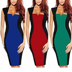 Janecrafts Women's New Color Block Fitted Pencil Shift Business Work Dress