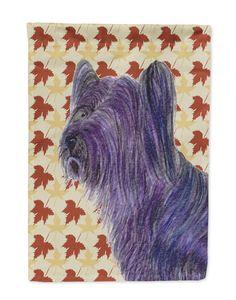 Skye Terrier Fall Leaves Portrait Flag Garden Size