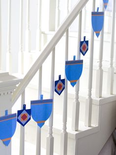 Kid-Friendly Dreidel Garland for your Hanukkah celebration:  http://www.hgtv.com/holidays-and-entertaining/celebrating-hanukkah-easy-and-stylish-jewish-holiday-ideas/pictures/index.html?soc=pinterest