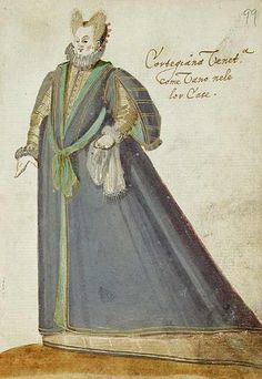 """Venetian Courtesan at Home,in the """"Alba Amicorum of a German Soldier"""" (1595). Unknown artist, Los Angeles County Museum of Art."""