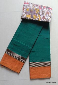 Soft cotton saree with kalamkari blouse