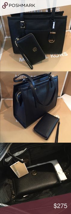 """🌴🌟Michael Kors Darien medium Set🌟🌴 100%Authentic Michael Kors Darien Medium Tote and Matching Wallet NWT. Outside you'll find a handy pocket on the front, top zip closure and dual adjustable shoulder straps. Gold tone hardware and a hanging logo charm add a chic touch.   Specifications MaterialSpot clean with damp cloth ClosureTop zip closure OriginImported Dimensions13"""" x 11.25"""" x 5.75"""" Drop 10.25"""" Fabric Care100% Leather Michael Kors Bags Totes"""