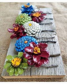 DIY Kissing Ball with Pine Cones - Crafts Unleashed@ handmade and painted pincone flowers on reused barn wood! These pi… - wood DIY ideasBeautiful handmade and painted pincone flowers on reused barn wood! Diy Projects To Try, Crafts To Make, Craft Projects, Crafts For Kids, Arts And Crafts, Diy Crafts, Wood Projects, Craft Ideas, Pine Cone Art