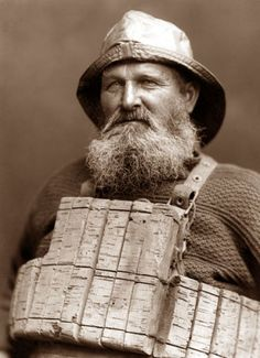 1880. Henry Freeman. The only survivor of the 1861 Whitby lifeboat disaster .The rest of the crew refused to wear the newly invented cork life jacket ,but he agreed to try it out so saving his life. photo by Frank Sutcliffe