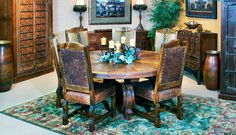 Hill Country style wood, leather & axis hide dining room set
