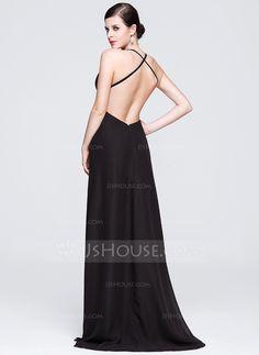 Sheath/Column V-neck Sweep Train Chiffon Evening Dress With Split Front (017014068)