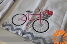 Piece N Quilt: Baby Girl Burp Cloths- bicycle for Curt :)