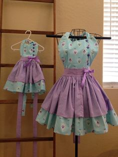 Lavender gingham and blue mommy and me apron by BackRoadOriginals
