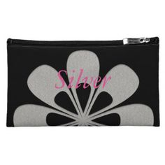 Cool Urban Abstract Silver Black Purse Makeup Bag