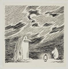 """The Groke (""""mörkö"""") and Moomin. Tove Jansson ( 1914 – was a… Moomin Books, Tove Jansson, Sketch Inspiration, Weird Creatures, Gravure, Graphic Illustration, Illustrations Posters, Painting & Drawing, Sketches"""