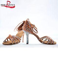 49.80$  Watch now  - New Ladies Nude Satin Crystal Rhinestone Ballroom SALSA Latin Tango Dance Shoes Heel Height: 5.5cm/7.5cm /8.5cmDance Shoes