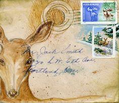 Deer postcard by eyefun on Etsy. 2.00, via Etsy.