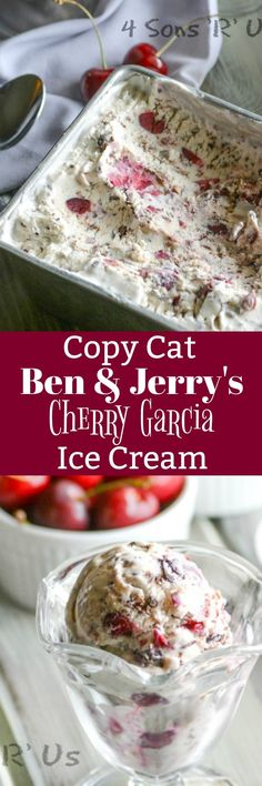 This Copy Cat Ben & Jerry's Cherry Garcia Ice Cream is simple to whip up, and our no churn recipe means you don't even need and ice cream maker. Silky smooth, creamy soft serve is studded with chopped sweet, dark cherries and chunks of dark chocolate.