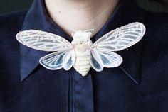 white-creme cicada brooch textil art insect brooch von mysouldesign