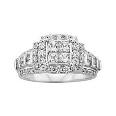1 5/8 Ct Square Princess & Round Cut Diamond Engagement Ring 14K White Gold # Free Stud Earrings by JewelryHub on Opensky