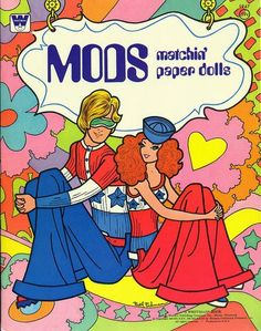 """A fabulous paper doll book by Whitman Titled: """"Mods Matchin' Paper Dolls"""". It features cute retro boy and girl dolls with colorful retro cut-out paper fashions! It is in excellent unused condition. Paper Dolls Book, Vintage Paper Dolls, Paper Toys, Vintage Barbie, Vintage Ads, Vintage Designs, Vintage Graphic, Vintage Comics, Vintage Stuff"""