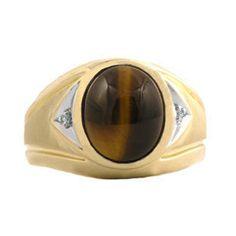 Tigers+Eye+Ring++Mens+Diamond+and+Tiger+Eye+Ring+by+gemologica,+$375.00