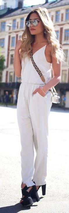d124e5b7f8c Combinaison Blanche, Robe Blanche, Mode En Floride, Tenues Décontractées De  Travail,