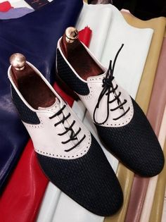 Handmade Black and White Men Shoes – Ustabas Shoes