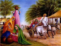 My Collection: Indian States by Susnata Mandal Village Scene Drawing, Art Village, Indian Village, Village Photos, Indian Art Paintings, Cool Paintings, Rajasthani Painting, Composition Painting, India Art