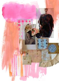 Fashion Moodboard - bright colours & vintage patterned paper, fabrics & lace; layout inspiration