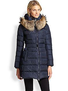 Add Down Fur-Collar Down Coat