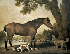 A Bay Hunter & Two Spaniels ~ George Stubbs ~ Horses, Dogs ~Cross Stitch Pattern #StoneyKnobFarmHeirlooms #CountedCrossStitch